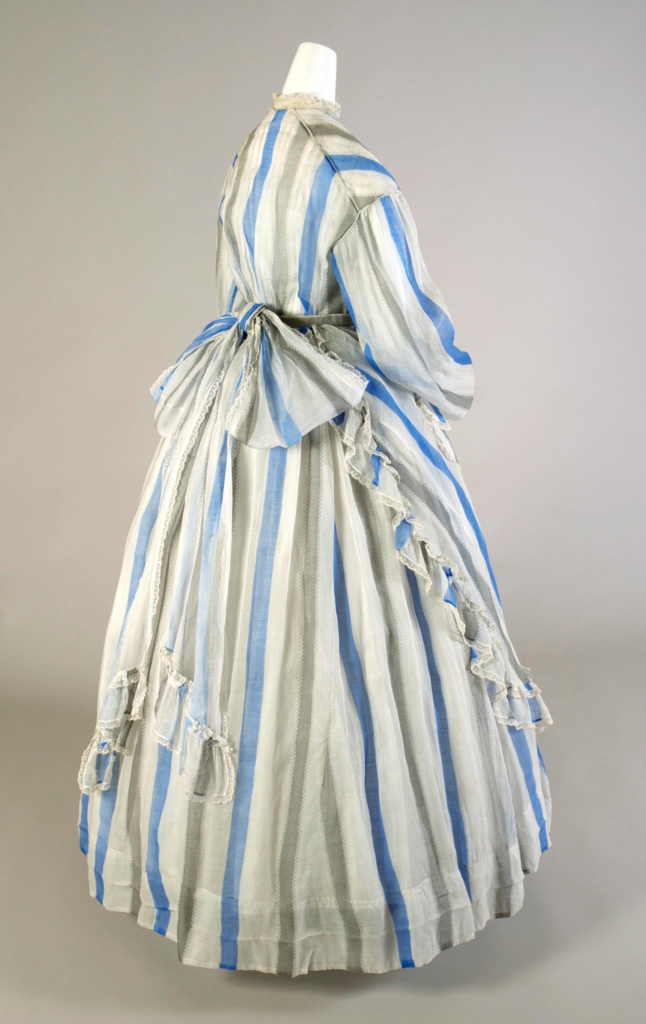 1865 striped apron-front dress