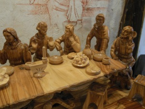 Detail of a hand-carved representation of the Last Supper