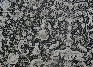 Detail of Lace cravat end showing a hunting scene, Metropolitan Museum of Art