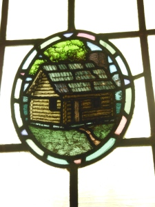 Stained glass window in the original library, Wagnalls Memorial
