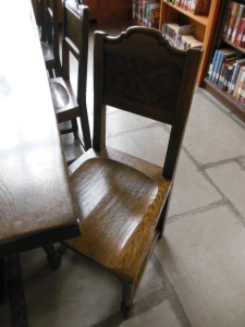 Handmade table and chair in the original library at Wagnalls Memorial