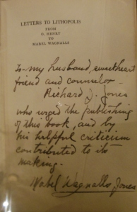 Inscription from Mabel Wagnalls to her husband in a copy of Letters to Lithopolis