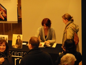 Christel Schmidt signing a copy of Mary Pickford: Queen of the Movies