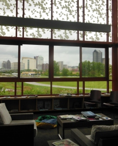 View of downtown Columbus from the Grange Insurance Audubon Center's library