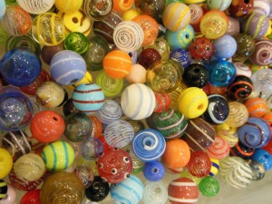 Lampwork beads by Kay Morlock for sale at Miss Mercedes, Lakeside, Ohio