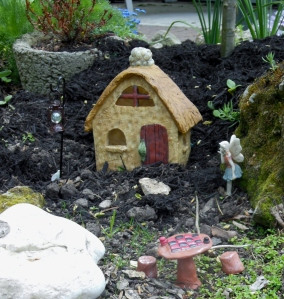 Detail of a fairy garden on Elm Avenue, Lakeside, Ohio
