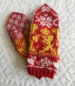 My mittens, knitted from Cynthia Wasner's Shield of Norway pattern