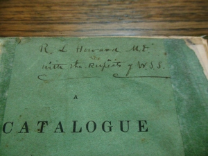 Inscribed cover of William Starling Sullivant's A Catalogue of Plants, Native or Naturalized, in the Vicinity of Columbus, Ohio, Ohio Historical Society Archives/Library