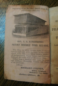 Advertisement for Langstroth's Patent Moveable Comb Bee-Hive, in A Small Treatise Containing Some Important Facts with a Few Practical Directions for Managing the Bee and Hive, Ohio Historical Society Archives/Library