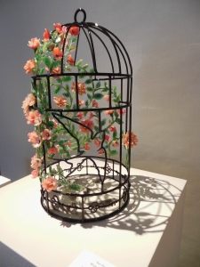 One of Kari Russell-Pool's flame worked glass birdcages