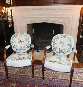 Needlepoint chairs depicting species of birds and flowers native to Ohio, Ohio Governor's Residence