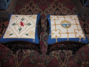 "Needlepoint seats on ""Buckeye Suite"" stools, Ohio Governor's Residence"