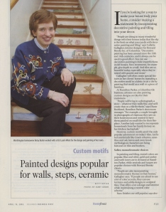 """Custom Motifs: Painted Designs Popular for Walls, Steps, Ceramics,"" from the April 18, 2003 issue of Business First."