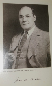 Photo of John W. Aull on display at Aullwood