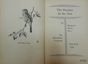 Title page and frontispiece, The Watcher at the Nest, Ohio Historical Society Archives/Library