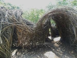 """Patrick Dougherty's """"A Wiggle in Its Walk,"""" Wegerzyn Gardens MetroPark"""