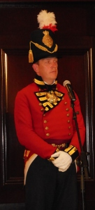 Robin Martin of Signal Hill wearing the uniform of an officer in the Royal Newfoundland Regiment Fencible Infantry