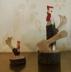 Hand-carved roosters from Windsor Collections, Country Living Fair