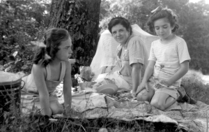 My grandma on a picnic with my mother and my aunt Sally, 1948