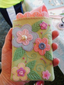 Embroidered merino wool accessory made by Melissa Davison of Sew Sweet Stitches, A Wool Gathering