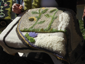 Rug hooking demonstration by a member of the Buckeye Rug Hooking Guild, Country Living Fair