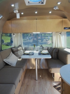 Inside an Airstream trailer on display at the Country Living Fair
