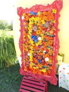 Zinnias on a lemonade stand, Country Living Fair