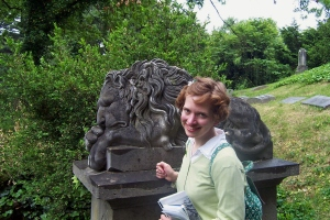 On my first visit to Spring Grove in 2005, I posed with one of a pair of carved lions that rests at the base of the hillside on which the Jacob Hoffner family monument sits. They are modeled after similar lion sculptures which once guarded the Hoffner family home and now are known as the University of Cincinnati's Mick and Mack.