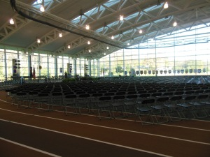Toan Track set up for the inauguration, Kenyon Athletic Center