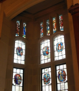 Stained glass windows in the Great Hall of Peirce Hall, Kenyon College