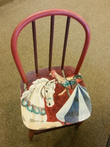 Painted chair, Carole Wright Children's Room, Peninsula Library & Historical Society