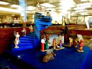 Nativity display, Roesch Library, University of Dayton