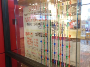 Wendy's original beads and drive-through menu