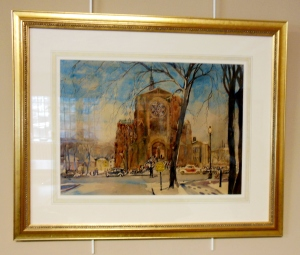 Watercolor of First Congregational Church by Ralph Fanning