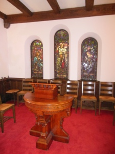 Washington Gladden's pulpit and triptych of windows, First Congregational Church