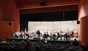 The Westerville Symphony rehearsing at Fritsche Theater, Otterbein University