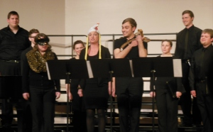 "Otterbein Vocal Ensemble members performing ""The Animal Fugue"""