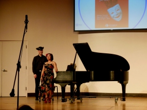 "Dr. Caroline Salido-Barta after performing P.D.Q. Bach's ""Notebook for Betty-Sue Bach"""