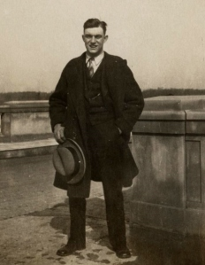 James Heinmiller standing on the O'Shaughnessy Dam Bridge, Dublin, Ohio, February 21, 1926