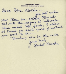 Letter from Rachel Hawks