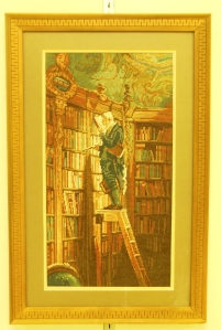 Wiehler-Gobelin tapestry of The Bookworm, on display at Kingwood Center, September 2013