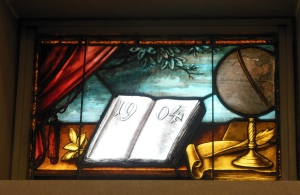 Stained-glass window in Beeghly Library, Ohio Wesleyan University