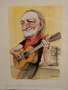 Richard Thompson's caricature of Willie Nelson, Billy Ireland Cartoon Library & Museum