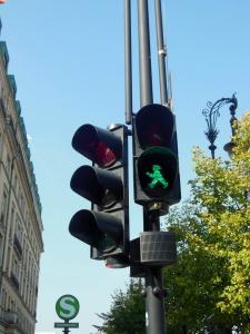 Ampelmann figure on traffic light, Berlin, Germany