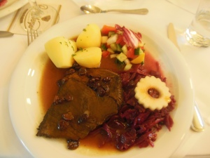 Sauerbraten and red cabbage, Hotel am Terrassenufer, Dresden, Germany