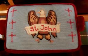 Needlepoint kneeler, St. John's Episcopal Church, Worthington