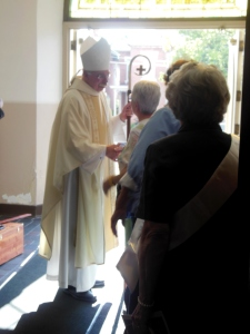 Bishop Campbell after the St. Mary Sesquicentennial Procession Mass
