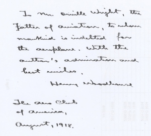 Henry Woodhouse's note to Orville Wright in the Wright Memorial Public Library's copy of Textbook of Military Aeronautics, courtesy of Margaret Peters
