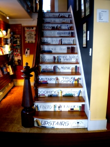 The painted stairsteps of Edgartown Books, an independent bookstore in Martha's Vineyard