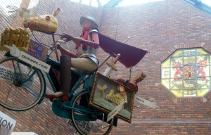 A modern-day interpretation of a Border rider greets visitors at the Tullie Museum in Carlisle, but instead of riding a hobbler, he sits astride a bicycle.  Pay a coin and he'll start to move.